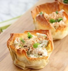 Serve chicken salad in a wonton cup and sprinkle with paprika to make this appetizer.