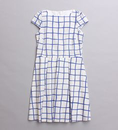 Blue and white check | Line print | Summer Dress