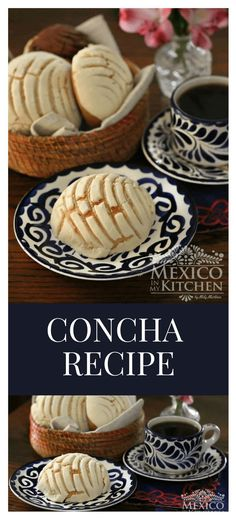 "Concha Recipe - - Among all the different kinds of traditional Mexican Pan Dulce (""sweet bread""), Conchas are without a doubt the most popular and recognizable. No other pan dulce is more representative of Mexico and its love of bread. Mexican Pastries, Mexican Sweet Breads, Mexican Bread, Mexican Dishes, Mexican Drinks, Mexican Snacks, Healthy Recipes, Gourmet Recipes, Mexican Food Recipes"