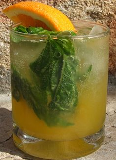 Orange Basil Mojito Cocktail #recipe | RecipeGirl.com Party Drinks, Fun Drinks, Cocktail Drinks, Cocktail Recipes, Yummy Drinks, Vodka Recipes, Non Alcoholic Drinks, Beverages, Healthy Cocktails