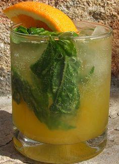 Orange Basil Mojito Cocktail recipe | RecipeGirl.com