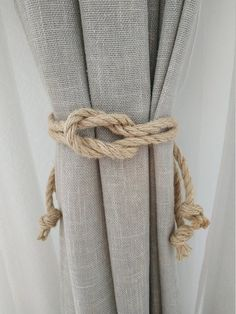 Rope Curtain Tie Back, Curtain Ties, Curtain Tie Backs Diy, Curtain Tiebacks Ideas, Rope Tie Backs, Coastal Decor, Rustic Decor, Farmhouse Decor, Coastal Living