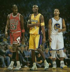 """The GOAT Michael """"Air"""" Jordan, the Black Mamba Kobe Bryant, and Splash Brother number one Stephen Curry."""
