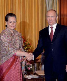 Vladimir Putin and Sonia Gandhi
