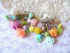 spring earrings charm shabby chic floral by lilyofthevally on Etsy