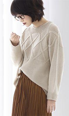 Cross Pattern Sweater by Pierrot (Gosyo Co., Ltd) ~ FREE fully chartecd