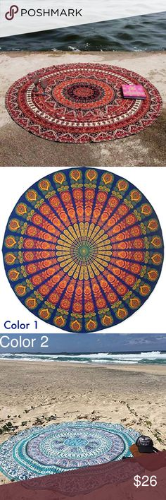 Round Bohemian Summer Circle Beach Sun Blanket NWT This is absolutely stunning for laying out at the beach and for use as a bikini swim coverup!  This is not a towel, but rather a 5 foot diameter polyester-blend disc of vivid color and eccentric Boho style.  Very light and easy to tuck into a small bag.  Quick drying.  Unlike a thick towel, I love that the sand slips right off.  Other uses are as a wall hanging tapestry, or to accessorize your bed, table  or sofa.  We ship fast, offer bundle…