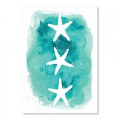 Aqua Watercolour Starfish Print