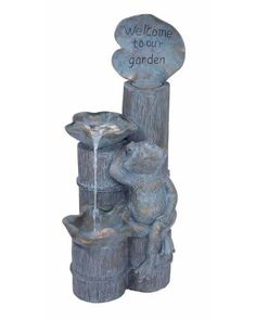 Rich Stone Finish Polystone Frog Fountain Welcome Garden Sculpture -  Decorated with a rich stone finish, this fountain flaunts a rustic, old-world look. The fountain features a bamboo shoot design and has water cascading from one big leaf to a smaller one near the base. A charming frog figurine completes the natural appeal of the design while the welcome note in an attractive font adds to the visual appeal of this fountain.