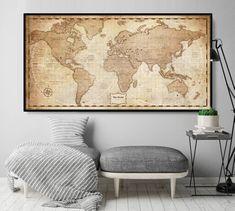 Rustic Home Decor, Home & Living, Antique World Map Print Poster Wall Art Decor World Map Decor, World Map Wall Art, Antique World Map, Vintage World Maps, Print Poster, Poster Wall, Extra Large Wall Art, Home And Living, Wall Art Decor