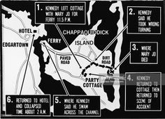 Map of Chappaquiddick Island, just off the island of Martha's Vineyard, that shows the locations of the major events of the evening of July 18, 1969, when a car driven by Senator Ted Kennedy crashed off of a bridge resulting in the death of Mary Jo Kopechne, late 1969.