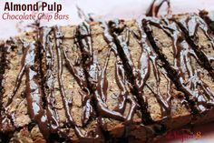 Almond Pulp Makes The Best Chocolate Chip Bars (Gluten-free, oil-free, flour-free) http://thevegan8.com/2014/02/18/almond-pulp-makes-the-best-chocolate-chip-bars/ by http://TheVegan8.com