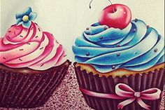 25/02/2014 Cupcakes grandes – Ana Laura Silva Rodrigues - Pintura em tecido