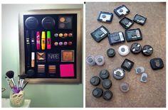 Organizar maquiagem em quadro magnético