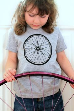 Kids Shirt Bicycle Wheel Screen Print  by darkcycleclothing, $20.00