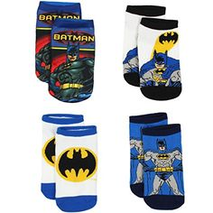 Justice League Batman Boys 4 Pack Socks (6-8 (Shoe: 10.5-...