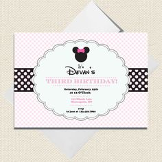 Pink Minnie Mouse inspired Disney Birthday Invitations -- Set of 10 - Printable File Available. $15.00