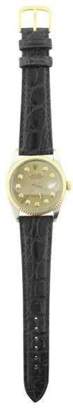 Rolex Datejust 16030 18K Bezel Black Leather Band Champagne Diamond Dial Automatic 36mm Mens Watch