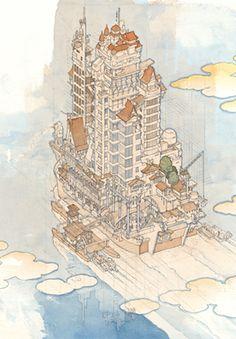 Akira Yamaguchi / Singa-planet Landscape Illustration, Illustration Art, Illustrations, Book Design, Design Art, Japanese Contemporary Art, Sketch Journal, Yamaguchi, Environment Concept