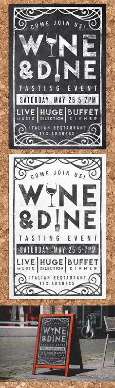 Buy Wine & Dine Event Chalk Flyer Invite by on GraphicRiver. Showcase your dinner event with this stylish chalk style postcard!psd files- Black and White versions included! Restaurant Poster, Restaurant Design, Cool Typography, Typography Design, Desing Inspiration, Food Graphic Design, Plakat Design, Chalk Lettering, Flyer Layout