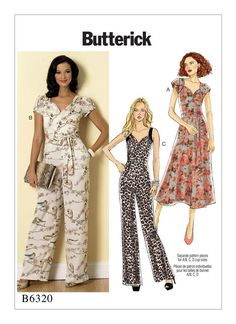 B6320 | Misses' Sweetheart-Neckline Dress and Jumpsuits Sewing Pattern | Butterick Patterns