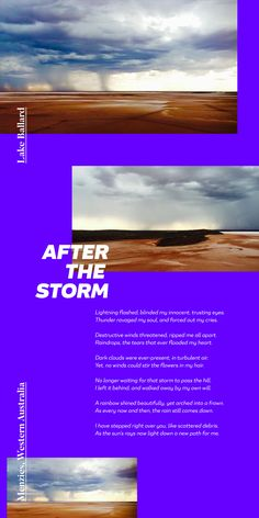 """I wrote this poem titled """"After The Storm"""" and I think this is cool how you used these powerful images to bring my words to life! Poem Titles, Lightning Flash, 365days, Powerful Images, After The Storm, Poems, Crafting, Typography, Journey"""
