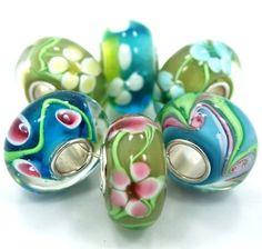 "BESTSELLER! .925 Sterling Silver 6 Beads ""Spring Mix"" Fits Pandora Troll Chamilia Carlo Biagi Zable $15.95"