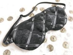 Black sleep mask with beads. Fabric Beads, Sleep Mask, Betta, Leather Backpack, Fashion Backpack, Backpacks, Eye, Bags, Vintage