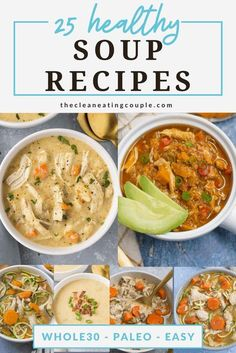 These 25 Healthy Soup Recipes are perfect when you need comfort food that's good for you! Loaded with vegetables & protein - these easy soups are delicious. Made in the instant pot, slow cooker, or on the stove- there's a healthy soup for everyone! Whether you want healthy chicken soup, beef soup, or vegan soups - you'll love all of these low calorie soup recipes! #soup #healthy
