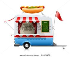 trailer fast food hot dog vector illustration isolated on white background - stock vector