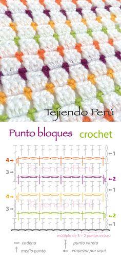 Punto bloques tejido a crochet (diagrama)! Muy lindo y fácil de tejer :)