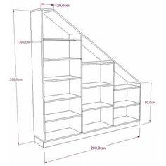 Storage shelf under stairs or under custom slope