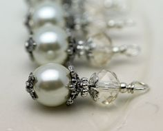 Vintage Style Bead Dangle Charm Drop Set in White by bountyofbeads, $6.00