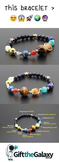 Celebrate our solar system with this beautiful, adjustable bracelet. This bracelet… - Outfit.GQ- Celebrate our solar system with this beautiful, adjustable bracelet. This bracelet … celebrate Cute Jewelry, Diy Jewelry, Jewelry Accessories, Jewelry Making, Jewellery, Space Jewelry, Geek Jewelry, Beaded Jewelry, Jewelry Necklaces