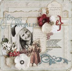 Shabby & Distressed White Christmas Page...with many layers of paper lace & torn papers with vintage santa embellishment.