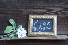 Vintage gold framed custom chalk cards and gifts sign for wedding. Floral detail. One of a set of six. *Featured here: http://snippetandink.com/timeless-napa-wedding-at-the-vintage-estate-melissa-rob/