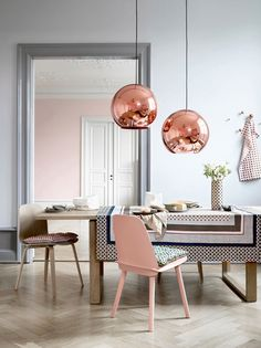 Copper and pretty pastels cooled down with sophisticated greys