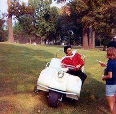 Elvis having fun in his golf cart and greeting fans at Graceland, Memphis, TN - June 1970