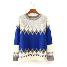 Women's Round Collar Long Sleeves Mixed Color Rhombus Pattern Sweater