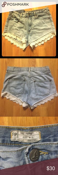 High-Waisted Free People Lacey Denim Cutoff Shorts Classic Free People Lacey Denim Cutoff Shorts in Daisy Wash. Size 25. Free People Shorts Jean Shorts