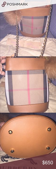 Burberry small bucket bag in house check It has 2 small marks in front I haven't try to clean but beside that no mayor flaws leather in excellent shape and hardware shiny I only use a few times Burberry Bags Crossbody Bags