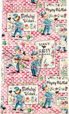 Impacco d'epoca rottami Gift Wrap compleanno avvolgimento carta anni 50