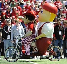 Herbie Husker and Lil' Red, the University of Nebraska Cornhuskers mascots.