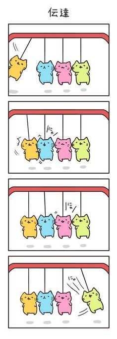 第82回 伝達 - コミニー[Cominy] Neko, Funny Cats, Kawaii, Comics, Levis, Cute, Animals, Illustrations, Kawaii Cute