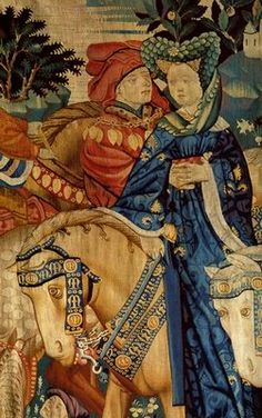 Detail from one of the Devonshire Hunting Tapestries. My excitement knows no bounds at this moment. I JUST found this image today at work to justify the liripipe/coxcomb on a padded roll/reticulated headdress combo I want to do for Simply Allegorical.