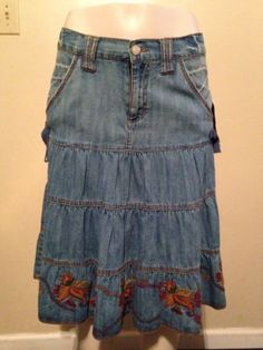 Womens Modest Western Cowgirl Tiered Denim Boho Peasant Embroidered Skirt Size 4 $24.99 #modestwear #skirts #denimskirts