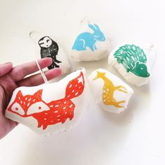 Hand Block Printed Ornaments. Woodland Animals. Set of 5. by LauraFrisk on Etsy https://www.etsy.com/listing/171141388/hand-block-printed-ornaments-woodland