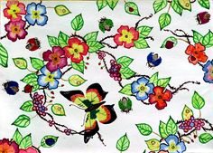 flowers, ladybug