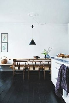 I would love a bench along a long wall! I have a crush on black wooden floors..