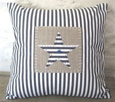 Show details for Blue Ticking Star Cushion